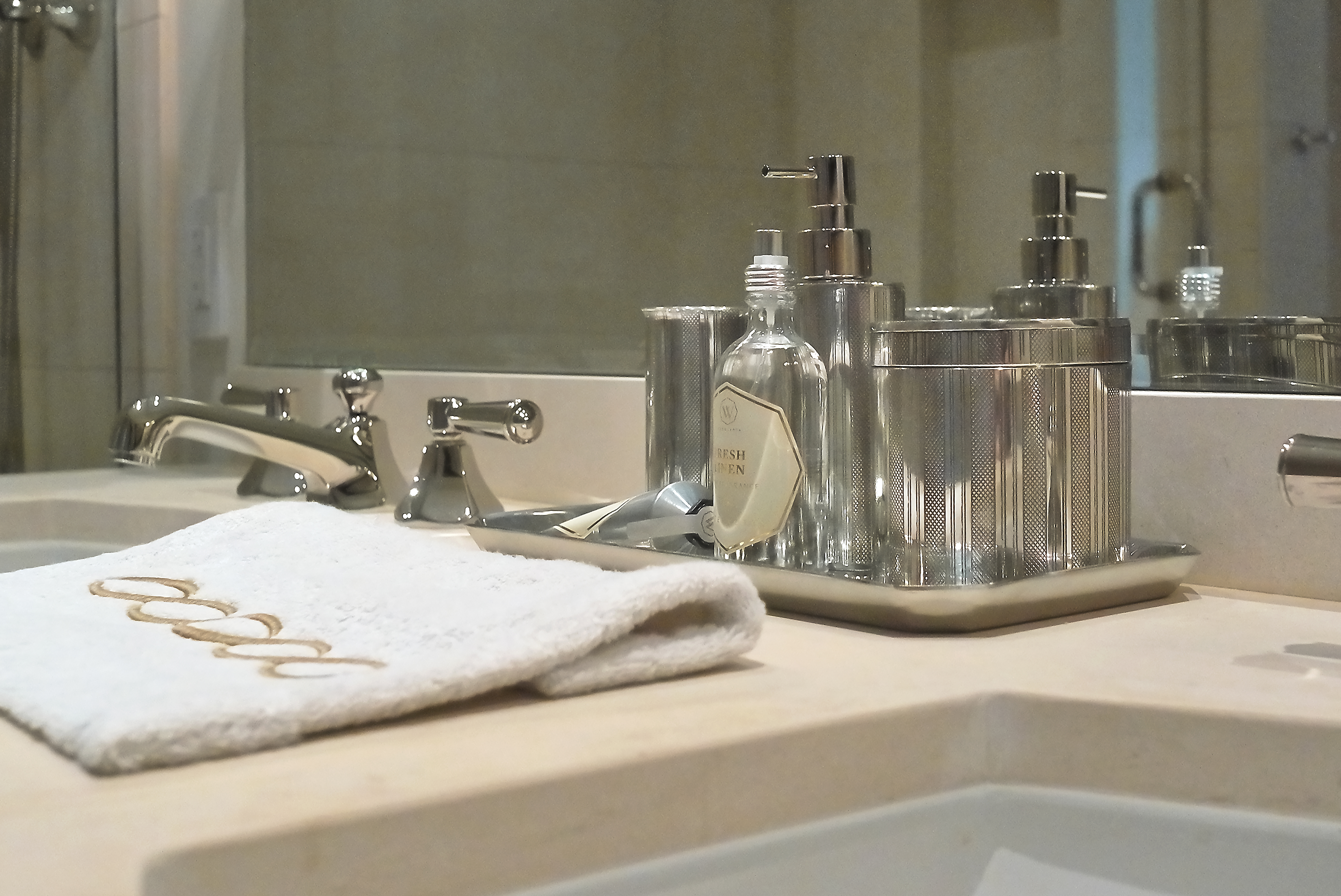 Accessories from Waterworks in our Showcase at the Ritz-Carton Residences in Chicago.
