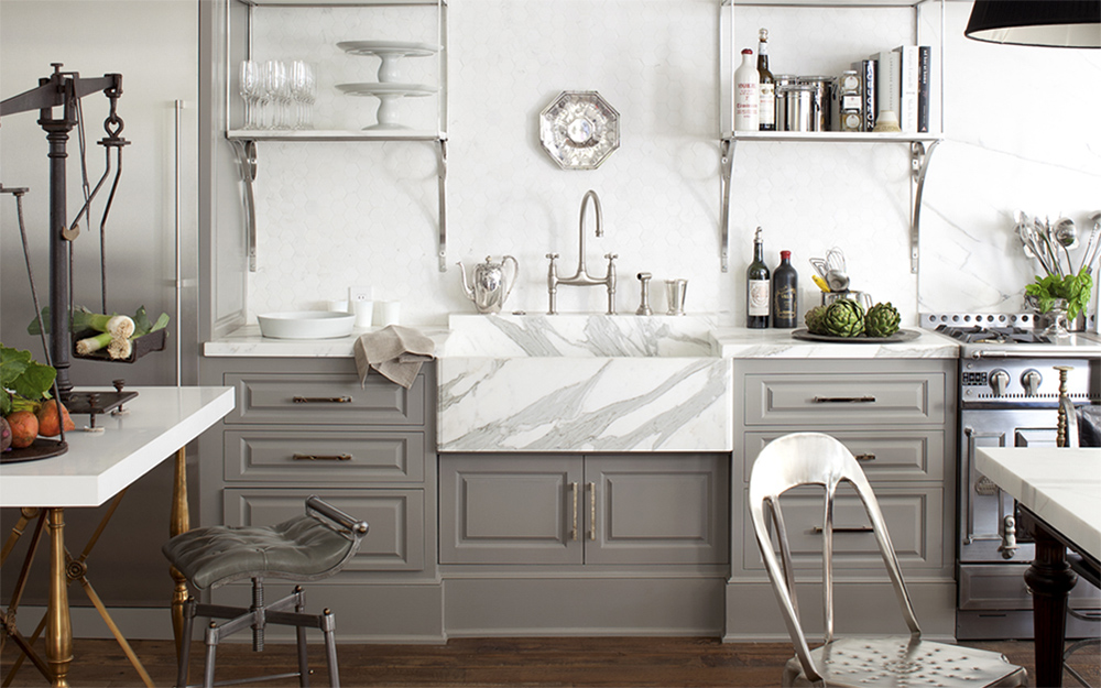 Gray & White Vintage Kitchen