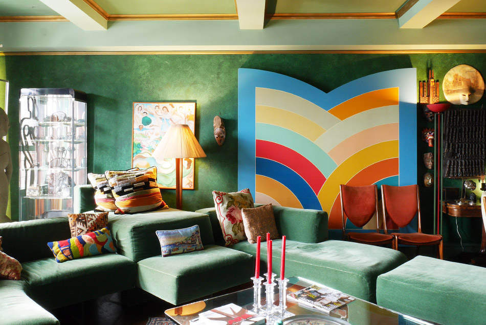 1970's style green LR with Kenneth Noland painting