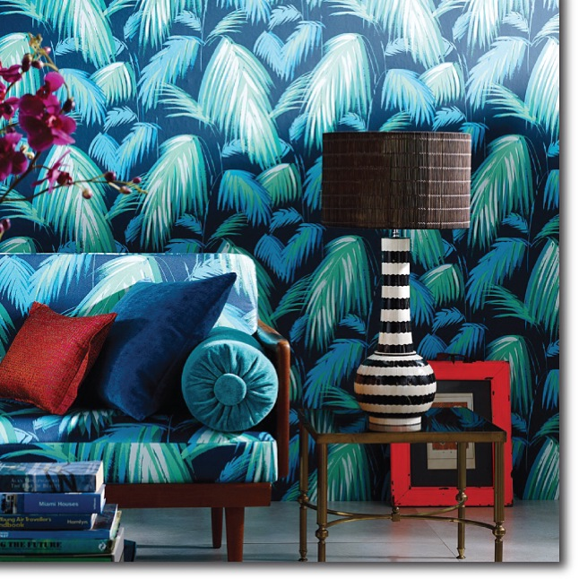 Turquoise Palm Print Wallcovering & Fabric with mid-century sofa